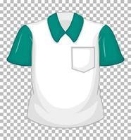 leeres weißes Hemd mit grünen kurzen Ärmeln und Tasche vektor