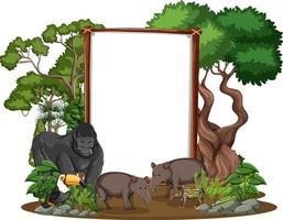 leeres Banner mit wilden Tieren und Regenwaldbäumen auf weißem Hintergrund