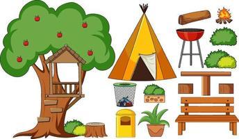 uppsättning campingföremål isolerade vektor