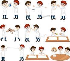 Satz junger Wissenschaftler in verschiedenen Posen Zeichentrickfigur vektor