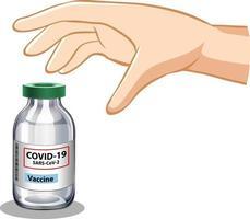 Hand versucht, Covid-19-Impfstoff auf weißem Hintergrund zu ergreifen vektor