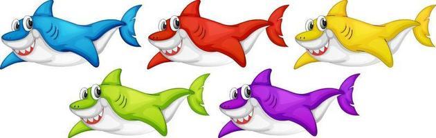 Satz von vielen lächelnden niedlichen Hai-Zeichentrickfigur lokalisiert auf weißem Hintergrund vektor