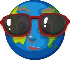 Erdkarikaturfigur, die Sonnenbrille auf weißem Hintergrund trägt vektor