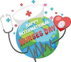 glad internationell sjuksköterskadagsstilsort med jorden och stetoskopet