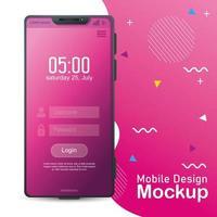 Handy-Design-Modell, realistisches Smartphone-Modell mit Login auf dem Bildschirm