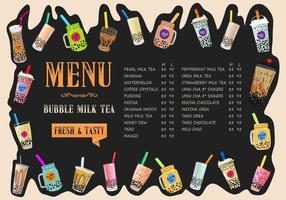 Bubble Milk Tee, Perlmilch Tee, verschiedene Arten von Boba. leckere Getränke.
