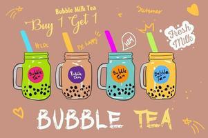 bubbelmjölkte, pärlemjölkte, olika sorters boba. smaskiga drycker.