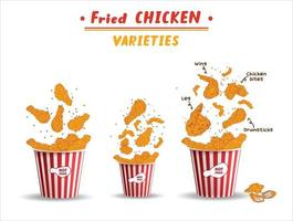 stekt kycklingkött. snabbmat meny designelement.