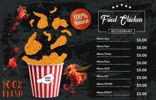 gebratenes Hühnerfleisch. Designelemente für Fast-Food-Menüs.