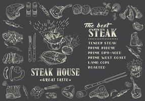 Steakmenü für Restaurant und Café. Essensflieger.