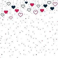 röda och blåa festliga hjärtan på vit bakgrund - vektorillustration