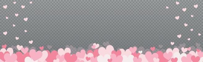 sanft rosarote Herzen auf einem grau karierten Hintergrund