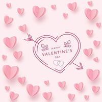 sanfte rosarote Herzen auf einem rosa Hintergrund
