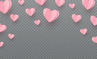 försiktigt rosa-röda hjärtan på en grå rutig bakgrund