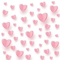 mjuka rosa-röda hjärtan på en vit bakgrund vektor