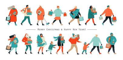 Frohe Weihnachten und neues Jahr. Urlaub Familienset. Eltern und Kinder schmücken den Weihnachtsbaum. Vektorillustration in einem flachen Stil. vektor