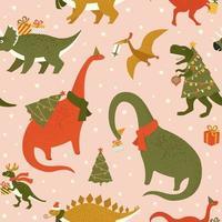 Dino Weihnachtsfeier Baum Rex. Dinosaurier in Weihnachtsmütze schmückt Weihnachtsbaumgirlande Lichter. Vektorillustration des lustigen Charakters im flachen Karikaturstil. vektor