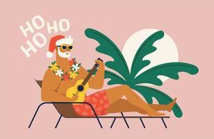 Sommerferienurlaub mit Weihnachtsmann. flache Vektorillustration. vektor