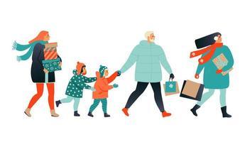 Frohe Weihnachten Grußkarte mit Menschen, die Geschenkboxen gehen und tragen. Weihnachtswinterplakatsammlung. vektor