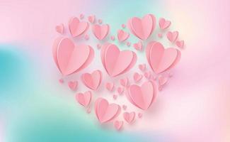 sanfte rosarote Herzen auf einem bunten Hintergrund - Illustration