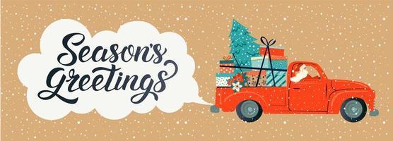 Frohe Weihnachten stilisierte Typografie. Vintage rotes Auto mit Weihnachtsmann, Weihnachtsbaum und Geschenkboxen. Vektor flache Artillustration.