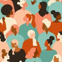 weibliche verschiedene Gesichter unterschiedlicher ethnischer Zugehörigkeit nahtloses Muster. Bewegungsmuster der Frauenermächtigung. internationale Frauentagsgrafik im Vektor. vektor