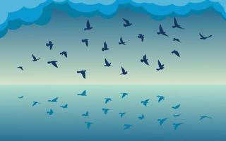 flygande fåglar silhuetter mönster tapet. vektor illustration. isolerad fågel som flyger. tatuering design. mall för kort, paket och tapeter.