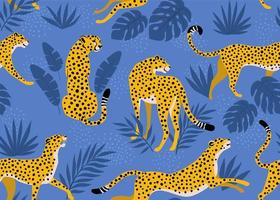 Leopardenmuster mit tropischen Blättern. Vektor nahtlose Textur.