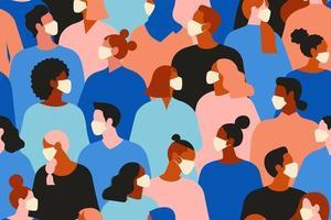 neuartiges Coronavirus, Menschen in weißer medizinischer Gesichtsmaske. Konzept der Coronavirus-Quarantäne-Vektorillustration. nahtloses Muster. vektor