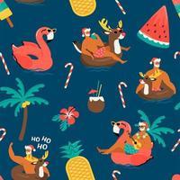 nahtloses Weihnachtsmuster mit niedlichen lustigen Weihnachtsmanntieren mit aufblasbarem Rentier- und Flamingoring. tropische Weihnachten. Vektorillustration. vektor