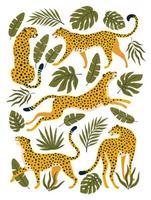 Vektorsatz von Leoparden oder Geparden und tropischen Blättern. trendige Illustration. vektor