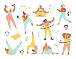 Frauen unterschiedlicher Größe, Alter und Rassenaktivitäten. Satz von Frauen, die Sport, Yoga, Joggen, Springen, Dehnen, Fitness tun. flache Illustration der Sportfrauenvektor lokalisiert auf weißem Hintergrund.