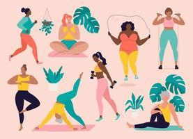 Frauen unterschiedlicher Größe, Alter und Rassenaktivitäten. Satz von Frauen, die Sport, Yoga, Joggen, Springen, Dehnen, Fitness tun. Sport Frauen Vektor flache Illustration isoliert rosa Hintergrund.