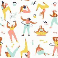 Frauen unterschiedlicher Größe, Alter und Rassenaktivitäten. Muster von Frauen, die Sport, Yoga, Joggen, Springen, Dehnen, Fitness machen. nahtloses Muster im Vektor.