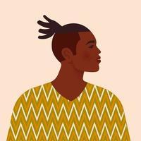 hübscher schwarzer Mann. junger Afroamerikaner. Porträt des jungen Mannes mit den Haaren. Seitenansicht. isoliert auf einem beigen Hintergrund. vektor