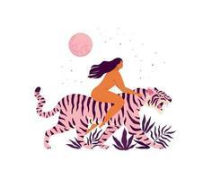 Tiger und ein inspirierendes Frauenplakat. Liebe dich selbst 8 März Grußkarte. vektor