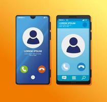 realistiska smartphones mockup med samtal på skärmen