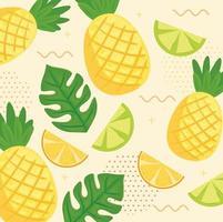 Orangen und Zitronenscheiben mit tropischem Ananasmusterhintergrund vektor