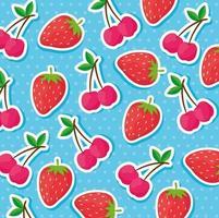 Erdbeer- und Kirschenmusterhintergrund vektor