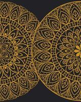 gyllene mandalaer på mörk bakgrund vektor