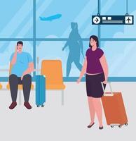 Leute am Flughafenterminal