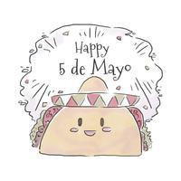 Gullig mexikansk taco leende till Cinco de Mayo vektor
