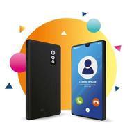 realistisches Smartphone-Modell mit Anruf auf dem Display