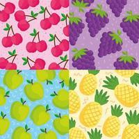 tropisk frukt mönster bakgrund uppsättning vektor