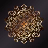 goldener Blumenmandalahintergrund vektor