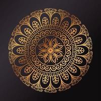 gyllene blommig mandala, dekorativ dekoration vektor