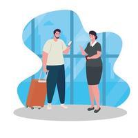 Mann und Flugbegleiter am Flughafen