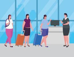 Leute am Flughafen stehen zum Einchecken