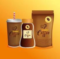 Kaffeemodell-Set für Verpackungsdesign vektor