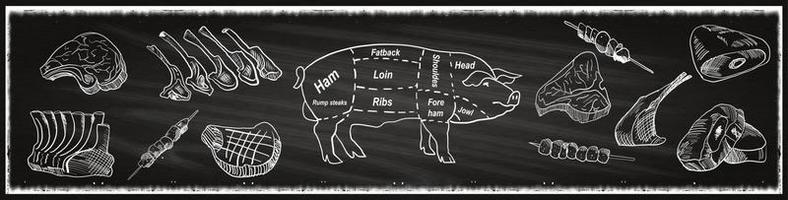 slaktbutik tavla skuren av nötkött.
